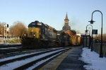 Westbound CSX freight in the cold