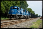 Blue SD50s lead an WB empty coal drag.
