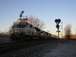 NS 2764 Splits the Signals on a Fast Moving Stack train headed For Buffalo