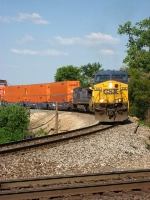 CSX 631 WB Schneider National Trailer Train