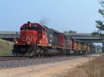 Southbound UP Manifest Train With CN/IC Locomotives