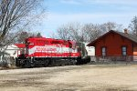 Passing the iconic orange ex-Milwaukee Road depot