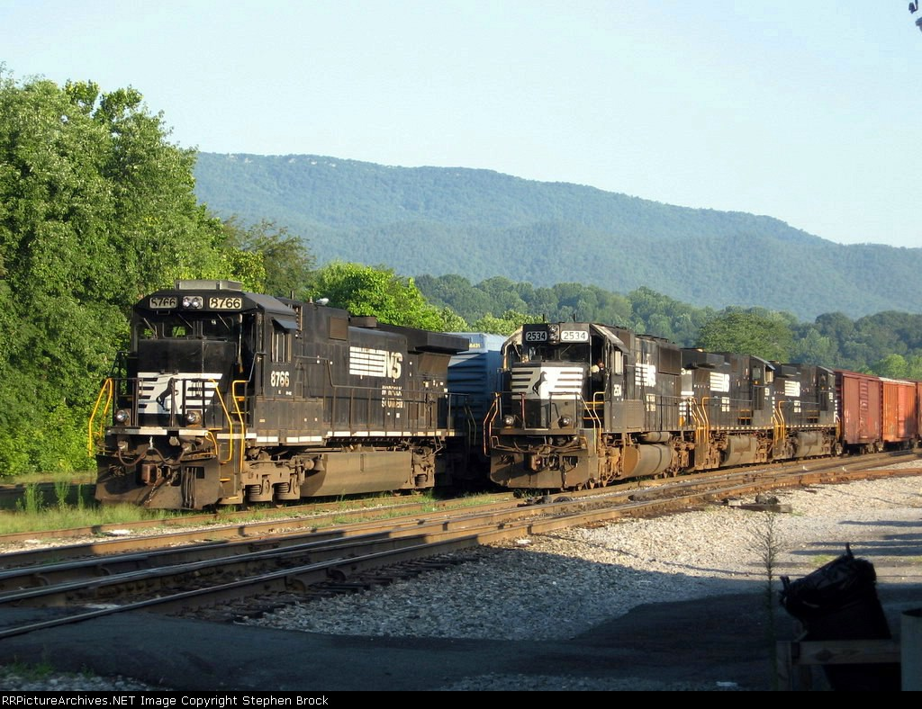 NS 8766 waits for 2534 & Co. to depart to Roanoke, VA.