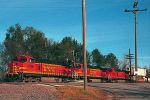 BNSF Dash 9 trio with westbound stack train