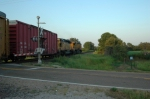 A north bound rolls along on a hot august evening in southern Missouri