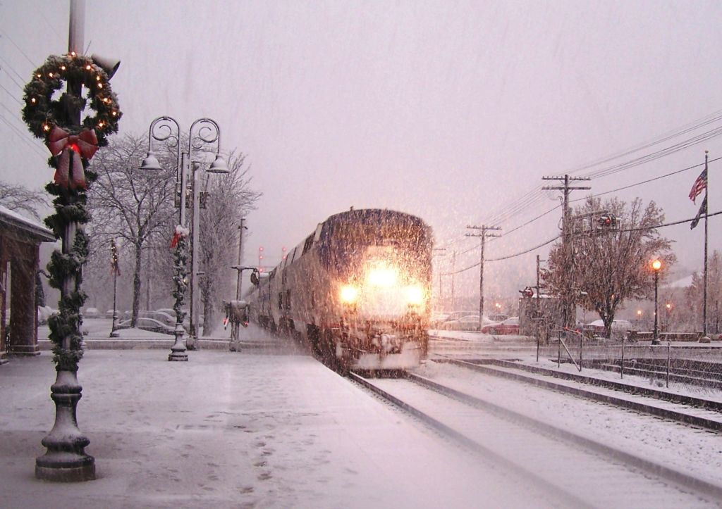 Amtrak lights up the snow