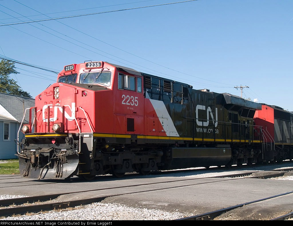 CN 2235 in a light power move to office at 9:56am