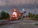 EJ&E 661 in a severe thunderstotm