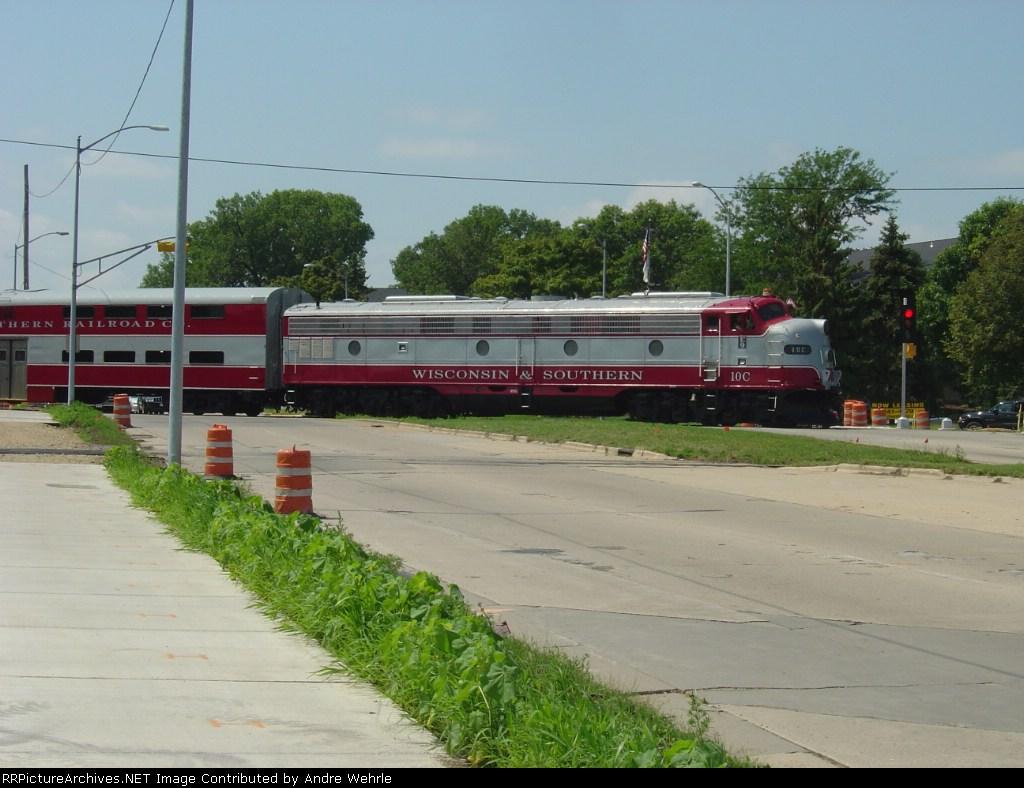 WSOR 10C pushing the train