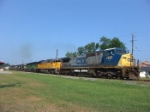 CSX 7691 leads an NS local with eight engines