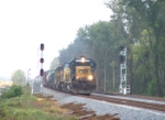 CSX 8469 splits the signals on the new double track