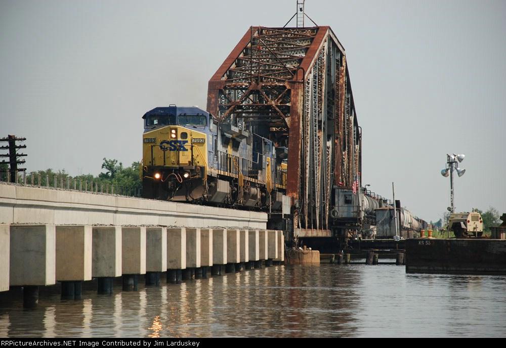 Q609 rolls through the Swing Bridge over Chickasaw Creek