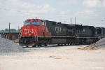 CN 2721 leads the road power set near the CN shop in the lower yard