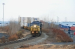 CSX 7659 pulling a stack train over Croxton