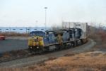 A CSX stack train over Croxton