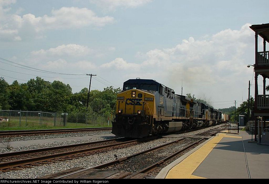 Westbound CSX Transportation Mixed Freight Train with five Diesel Locomotives providing power