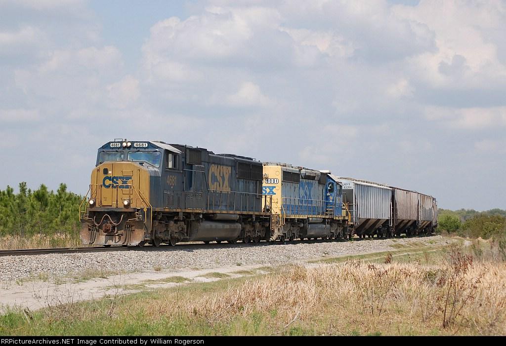 CSX Unit Phosphate Train powered by EMD SD70M No. 4681 and SD40-2 No. 8001