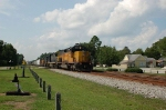 Southbound CSX Transportation Mixed Freight Train with Union Pacific Railroad EMD SD40T-2 No. 2918 in the lead