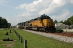 Southbound CSX Transporation Mixed Freight Train with Union Pacific Railroad EMD SD40T-2 No. 2918 in the lead