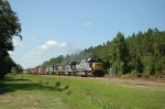 Northbound CSX Transportation Mixed Freight Train with five EMD Diesel Locomotives providing power