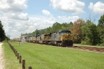 Northbound CSX Transportation Autorack Train with three GE and two EMD Diesel Locomotives providing power