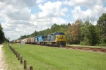 Northbound CSX Transportation Mixed Freight Train with two GE Diesel Locomotives providing power