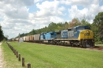 Northbound CSX Transportation Mixed Freight Train with two GE C40-8W's providing power