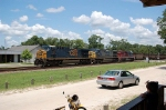 Southbound CSX Transportation Unit Coal Train with two GE and one EMD Diesel Locomotives providing power