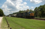 Northbound CSX Transportation Mixed Freight Train with a pair of EMD Diesel Locomotives providing power