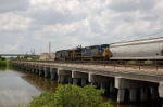 Westbound CSX Transportation Mixed Freight Train crossing the Tampa By-Pass Canal, with GE AC44CW's No. 47 and No. 38 providing power,
