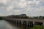 Eastbound CSX Transportation Auto Rack Train crossing the Tampa By-Pass Canal, with GE AC44CW's No. 250 and No. 131 providing power,