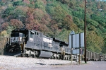 Pusher set for EB coal train heading for Elkhorn Tunnel