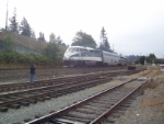 The Cascades with Superliner coaches at Mt Vernon, WA, 9/07