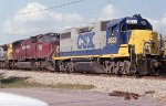 The old leading the new on a SB freight sitting in the siding