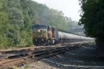 wb ethanol train with its 1 box car as an idler car heads west
