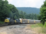 CSX 8752 & 8127 working hard as they lead Q217 up the hill