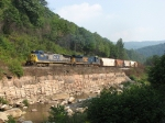 CSX 7324 & 5337 leading Q389 westbound up the hill