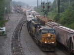 CSX 578 & 8608 leading Q401 out of the yard as a westbound enters