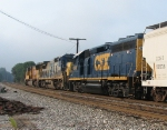 CSX 6141 trailing behind as the third unit on Q358