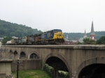Q317 crossing the viaduct as it starts up the Mountain Sub leaving the church steeples behind