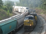 CSX 609 brings another westbound, Q373-30, towards the yard