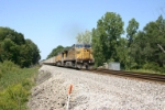 UP 6595 heads up the hill with coal