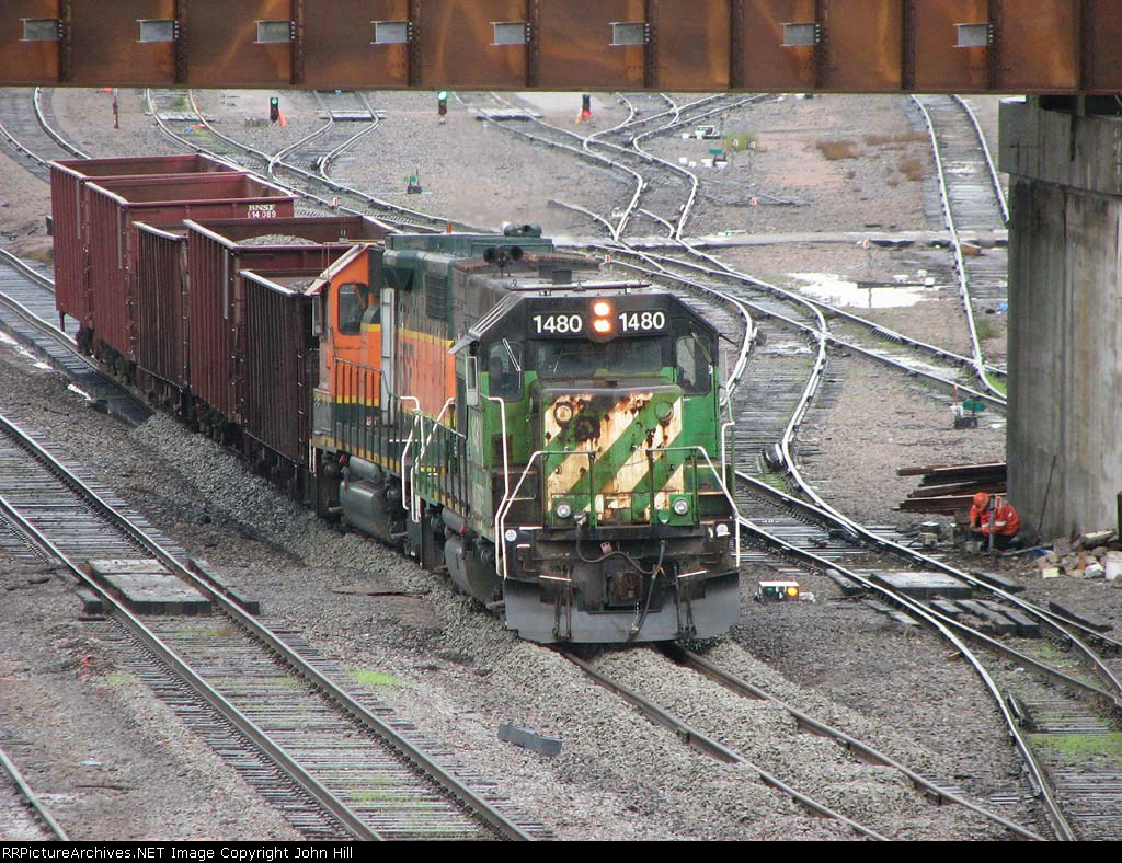 071018002 Ballast is applied to the BNSF South Runner track at Northtown CTC 35th