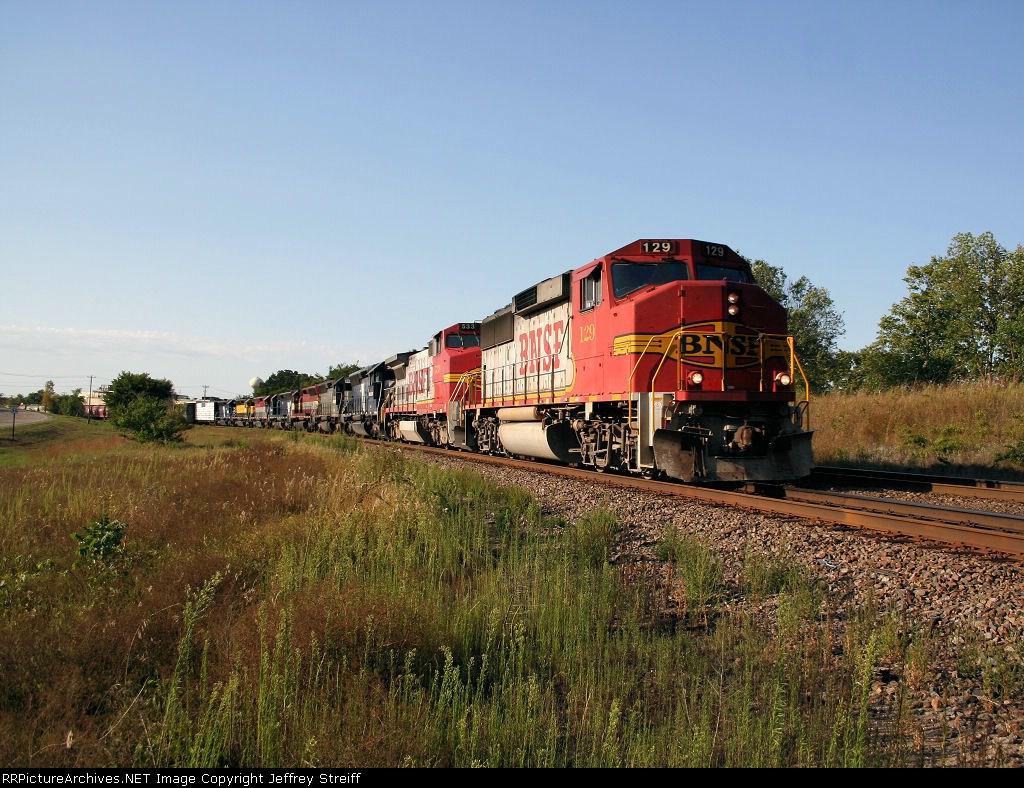 BNSF 129 towing 7 dead MRL SD45's