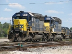 CSX 8081 & 8032, having cut off from Q335, prepare to back into the yard