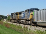 CSX 7697 & 9020 bring up the rear as the old elevator waits for the passage of the next train