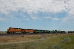 Westbound Burlington Northern Santa Fe Railway Mixed Freight Train