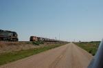 Eastbound Burlington Northern Santa Fe Railway Mixed Freight Train meets Westbound Unit Grain Train