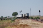 Going away shot of Westbound Burlington Northern Santa Fe Railway Container/TOFC Train