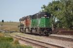 Going away shot of three Burlington Northern Santa Fe Railway Diesels heading Westbound